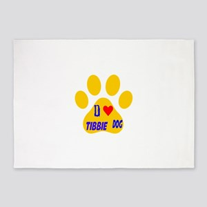 I Love Tibbie Dog 5'x7'Area Rug