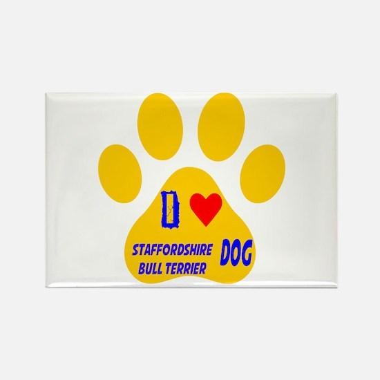 I Love Staffordshire Bull Terrier Rectangle Magnet