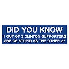 Clinton Supporters Stupid Bumper Sticker