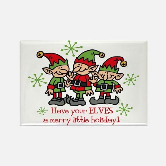 Merry Elves Rectangle Magnet