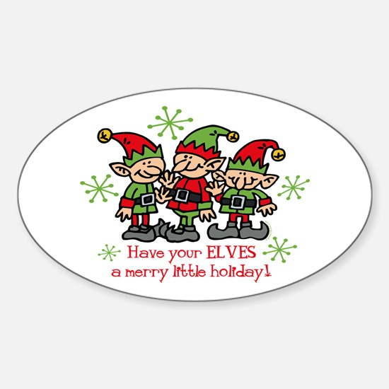 Merry Elves Oval Decal