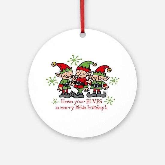 Merry Elves Christmas Ornament (Round)