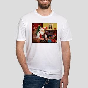 Santa's Dachshund (LH-B) Fitted T-Shirt