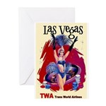 TWA Fly to Las Vegas Vintage Art Print Greeting Ca