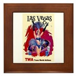 TWA Fly to Las Vegas Vintage Art Print Framed Tile