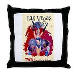 TWA Fly to Las Vegas Vintage Art Print Throw Pillo