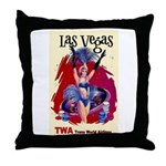 TWA Fly to Las Vegas Vintage Art Print Throw Pillo