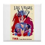 TWA Fly to Las Vegas Vintage Art Print Tile Coaste