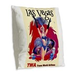 TWA Fly to Las Vegas Vintage Art Print Burlap Thro