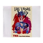 TWA Fly to Las Vegas Vintage Art Print Throw Blank