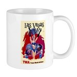 TWA Fly to Las Vegas Vintage Art Print Mugs