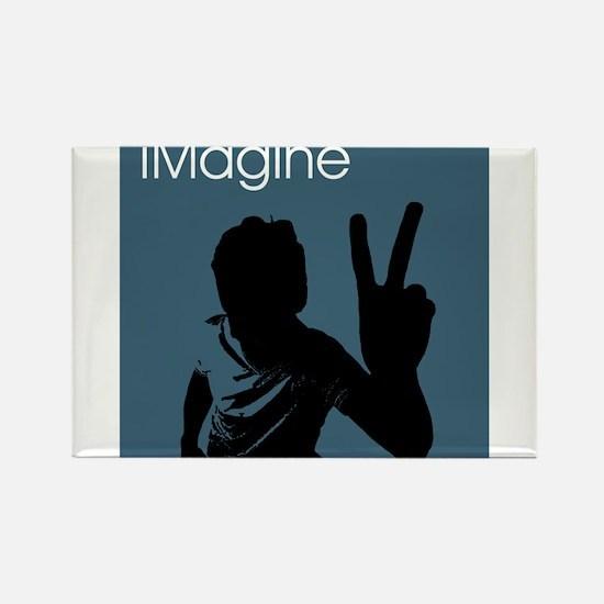 iMagine Peace - Siloette - Blue Rectangle Magnet