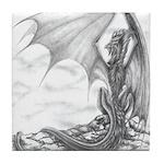 """Watch Dragon"" Dragon Drawing, Dragon Tile Coaster"