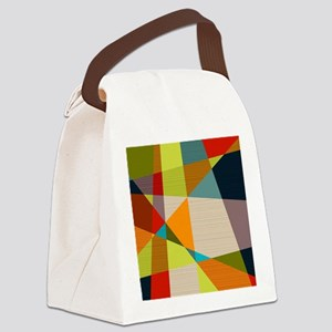 Mid Century Modern Geometric Canvas Lunch Bag