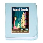 Miami Beach Art Deco Railway Print baby blanket