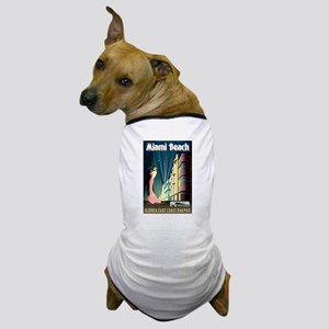 Miami Beach Art Deco Railway Print Dog T-Shirt