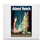 Miami Beach Art Deco Railway Print Tile Coaster