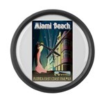 Miami Beach Art Deco Railway Print Large Wall Cloc