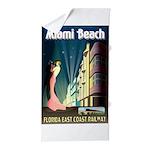 Miami Beach Art Deco Railway Print Beach Towel