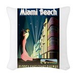 Miami Beach Art Deco Railway Print Woven Throw Pil