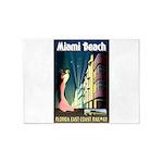 Miami Beach Art Deco Railway Print 5'x7'Area Rug