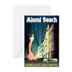 Miami Beach Art Deco Railway Print Greeting Cards