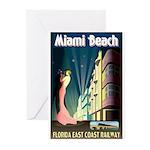 Miami Beach Art Deco Railway Print Greeting Cards