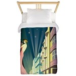 Miami Beach Art Deco Railway Print Twin Duvet