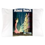 Miami Beach Art Deco Railway Print Pillow Case