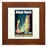 Miami Beach Art Deco Railway Print Framed Tile