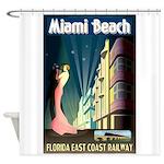 Miami Beach Art Deco Railway Print Shower Curtain