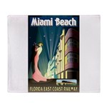 Miami Beach Art Deco Railway Print Throw Blanket