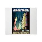 Miami Beach Art Deco Railway Print Throw Blanket
