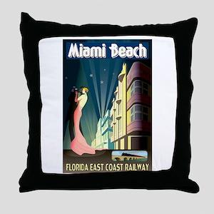 Miami Beach Art Deco Railway Print Throw Pillow