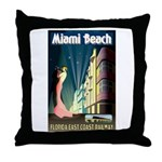 Miami Beach Art Deco Railway Print Throw Pillow