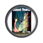 Miami Beach Art Deco Railway Print Wall Clock