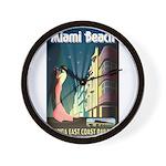 Miami Beach Art Deco Railway Print Wall Clock