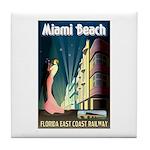 Miami Beach Art Deco Railway Print Tile Coaster