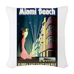 Miami Beach Art Deco Railway Print Woven Throw Pil