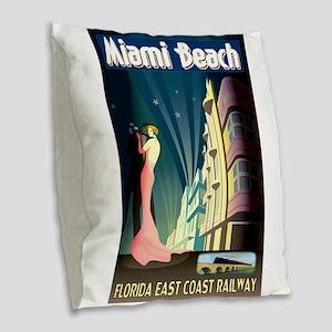 Miami Beach Art Deco Railway Print Burlap Throw Pi