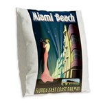 Miami Beach Art Deco Railway Print Burlap Throw Pi