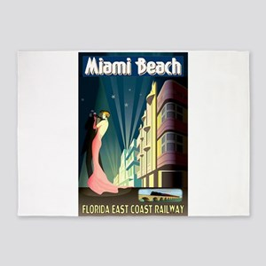 Miami Beach Art Deco Railway Print 5'x7'Area Rug