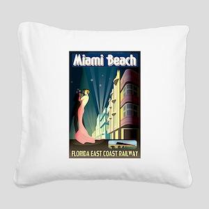 Miami Beach Art Deco Railway Print Square Canvas P