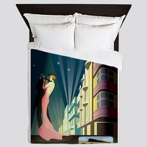 Miami Beach Art Deco Railway Print Queen Duvet
