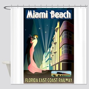 Miami Beach Art Deco Railway Print Shower Curtain