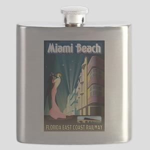 Miami Beach Art Deco Railway Print Flask