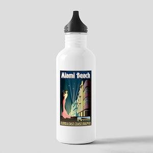 Miami Beach Art Deco Railway Print Water Bottle