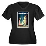 Miami Beach Art Deco Railway Print Plus Size T-Shi