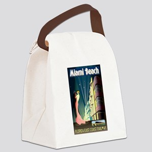 Miami Beach Art Deco Railway Print Canvas Lunch Ba