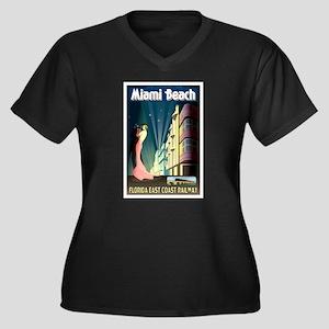 Miami Beach Art Deco Railway Print Plus Size T-Shi